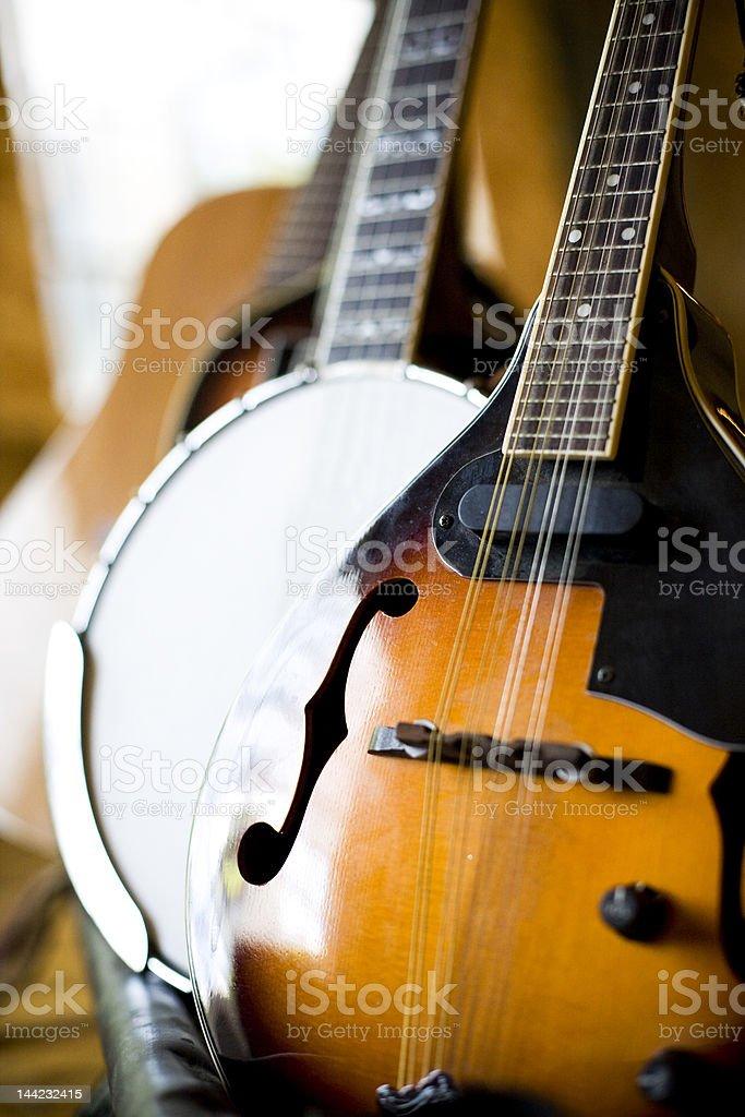 Mandolin, Banjo, Acoustic Guitar stock photo