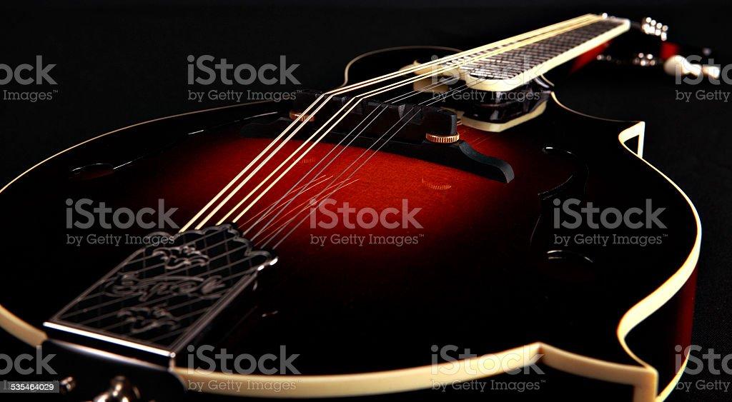 Mandolin isolated on black, detail stock photo