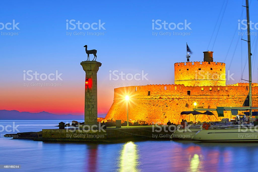 Mandraki harbor, Rhodes Island, Greece stock photo