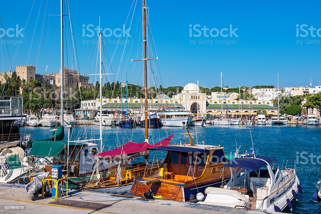 Mandraki Harbour. Rhodes, Greece stock photo