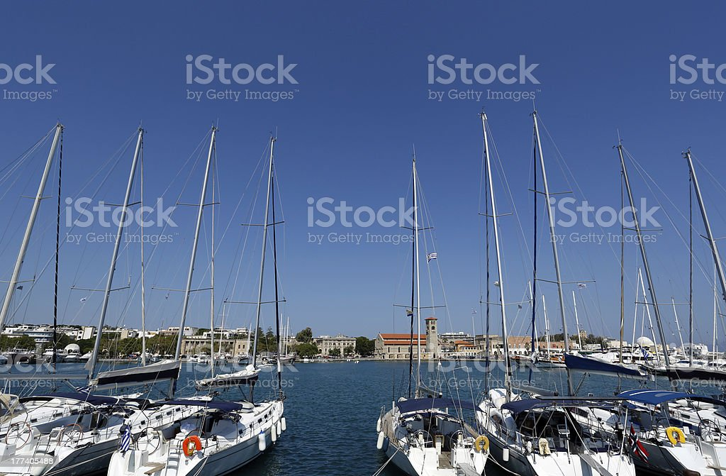 Mandraki marina, Rhodes, Greece stock photo