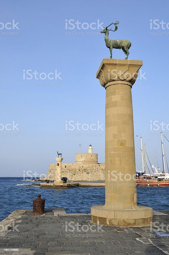 Mandraki Port Rhodes Greece royalty-free stock photo