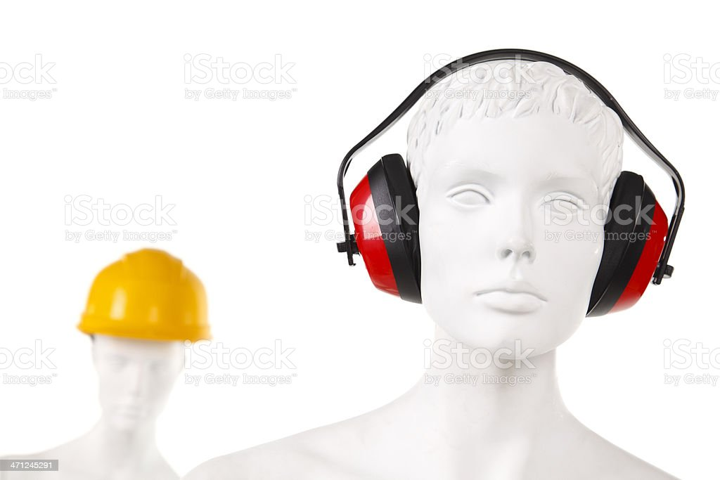 Manequin with ear and head protection stock photo