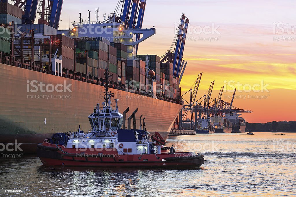 Maneuvering a container ship stock photo