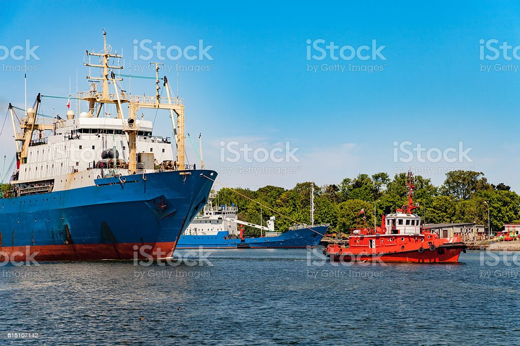 Maneuvers in port stock photo
