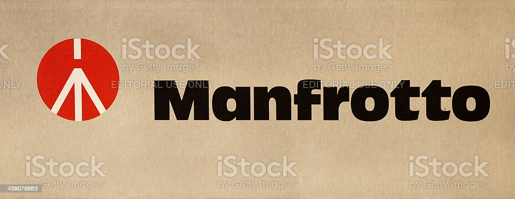 Manfrotto logo on tripod box stock photo