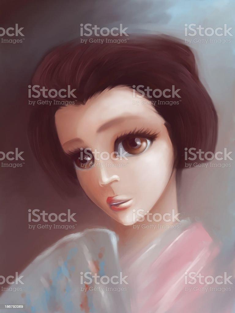 Manga geisha royalty-free stock photo