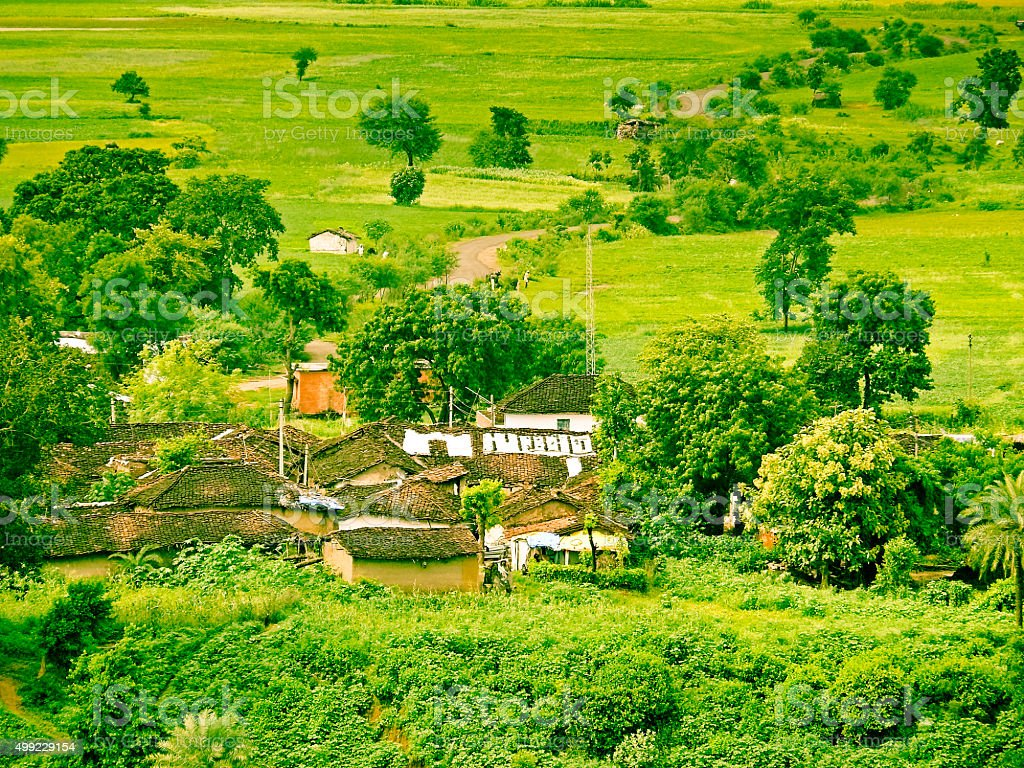 Mangalore tile roof village and greenery, Rural Houses, stock photo