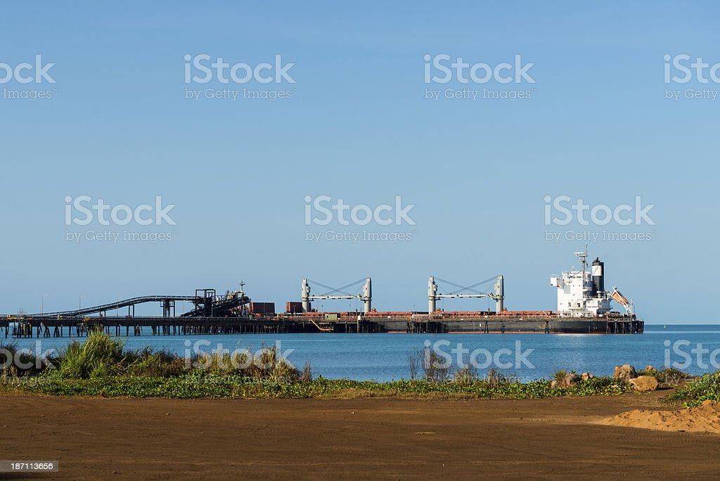 Manganese freight ship loading at Groote Eylandt GEMCO royalty-free stock photo