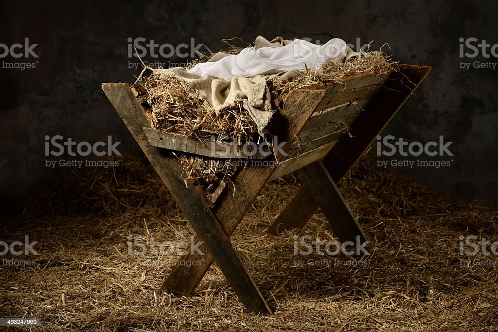 Manger in Stable stock photo