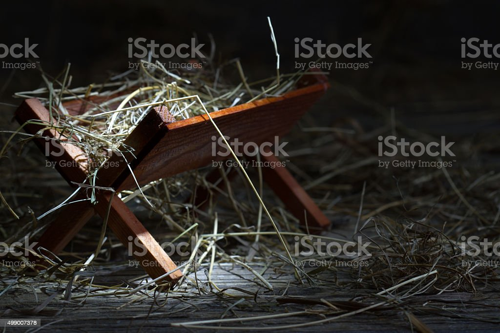 Manger in the stable abstract christmas symbol stock photo