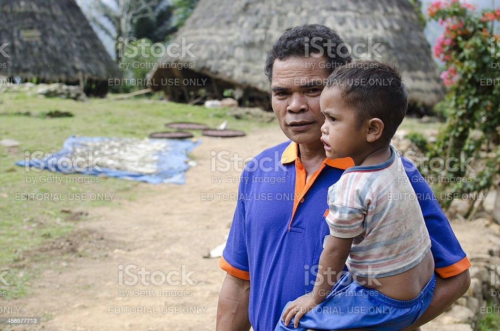 Manggarai man and his son stock photo