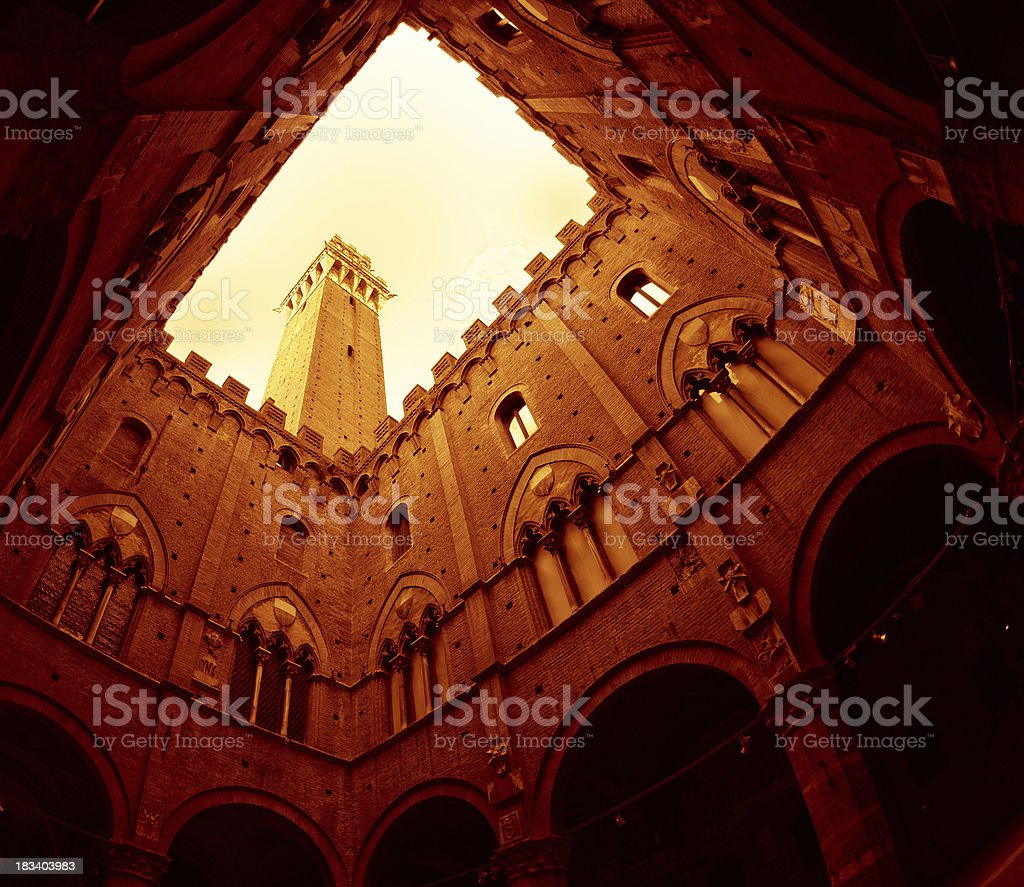 'Mangia Tower in the Piazza del Campo, Siena' stock photo