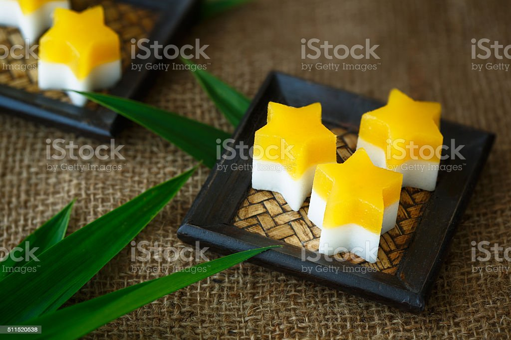 Mango and coconut agar-agar stock photo