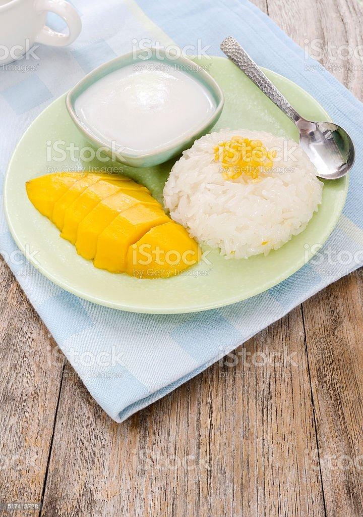 mango and sticky rice stock photo