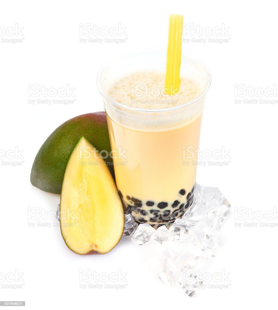 Mango Boba Bubble Tea stock photo