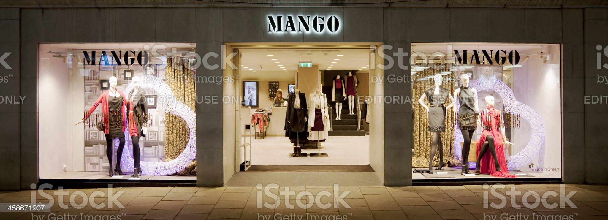 Mango clothing store shop window, sign and logo royalty-free stock photo