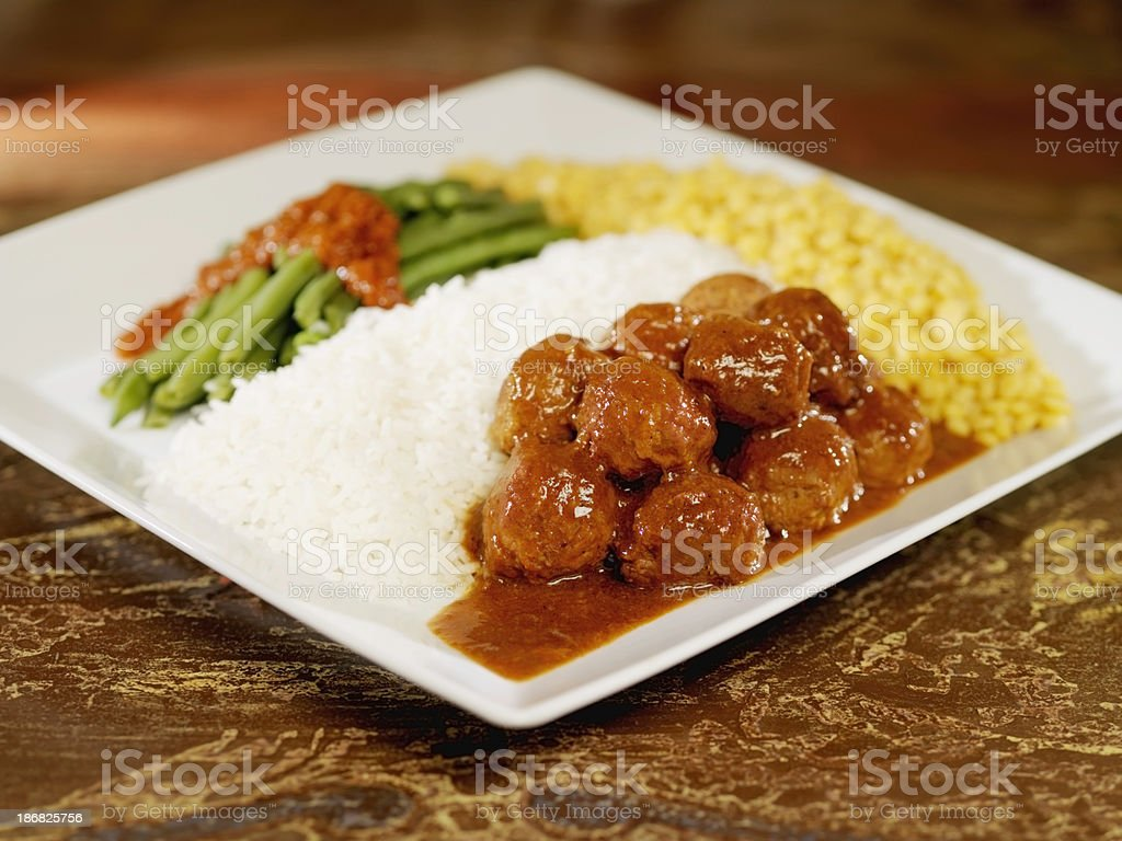 Mango Meatballs with Masala Green Beans royalty-free stock photo