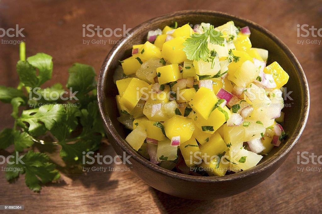 Mango pineapple salsa stock photo
