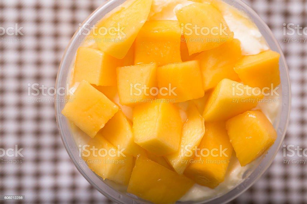 mango  slices with  cream and ice Sorbet stock photo