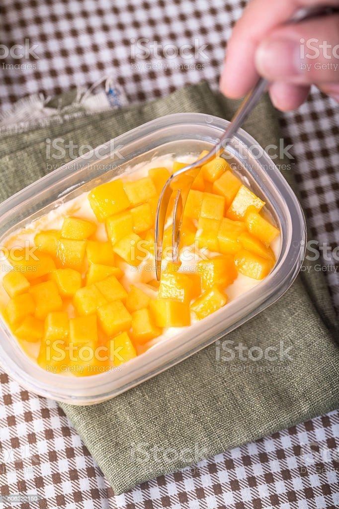 mango  slices with  cream layers stock photo