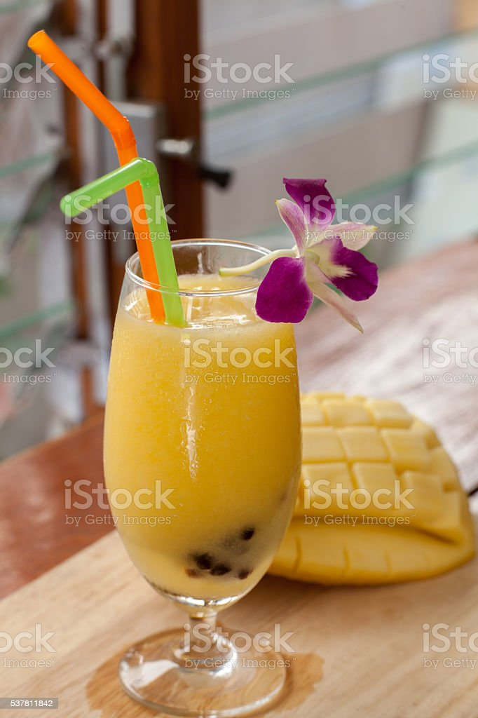 Mango smoothie blended Pearl stock photo