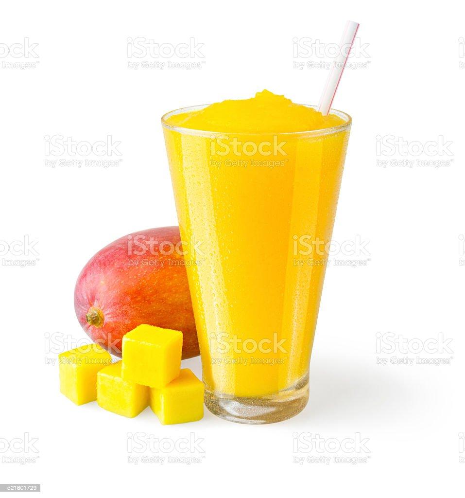 Mango Smoothie with Garnish on White Background stock photo