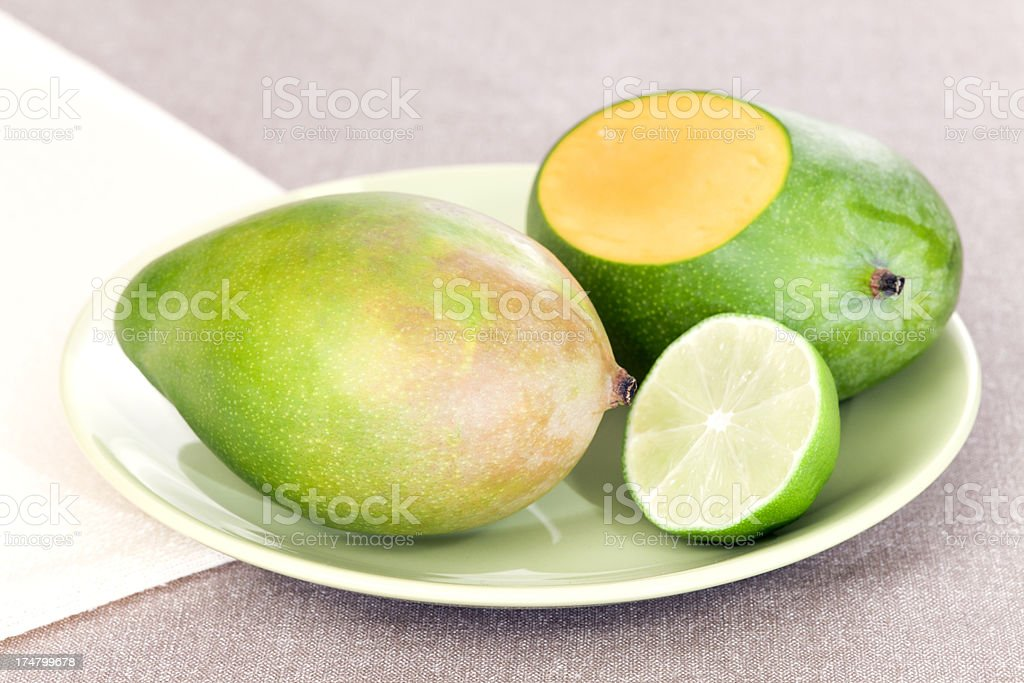 Mangoes and Lime on plate royalty-free stock photo