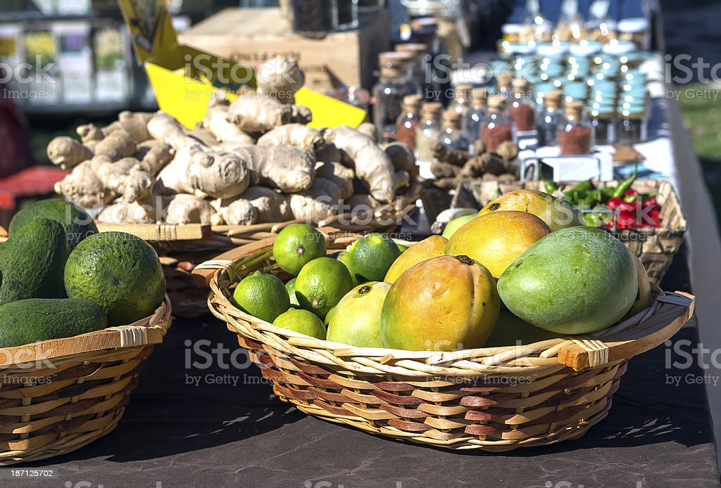 Mangoes,limes,lemons,ginger,spices royalty-free stock photo