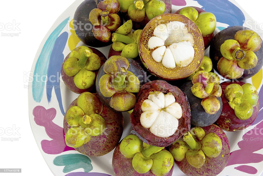 Mangosteen fruit in the dish. royalty-free stock photo