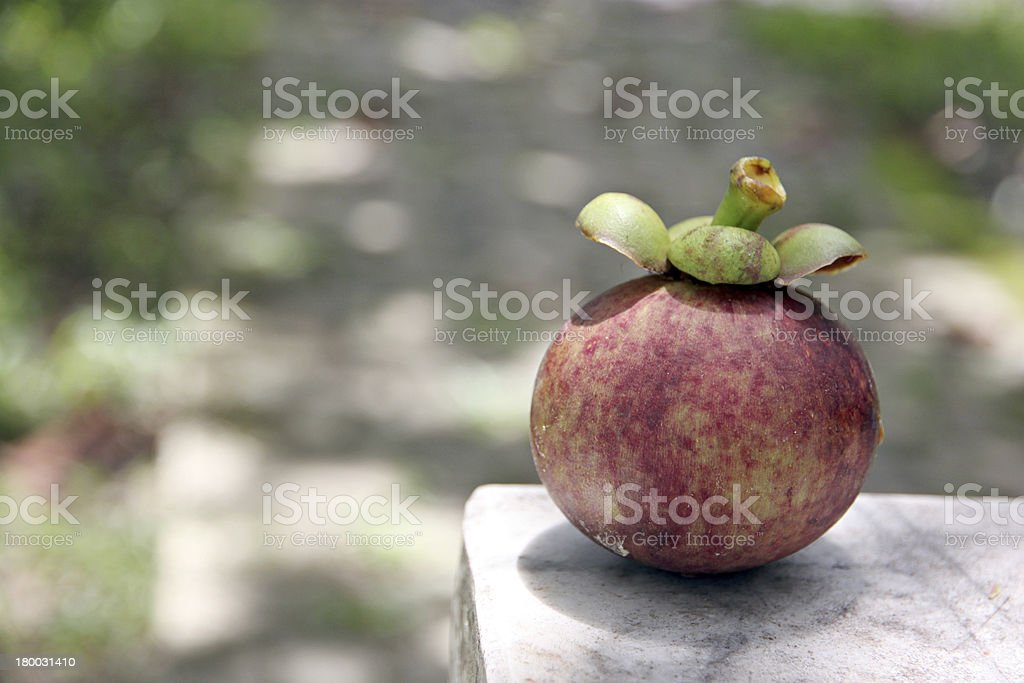 Mangosteen is placed on the table. royalty-free stock photo