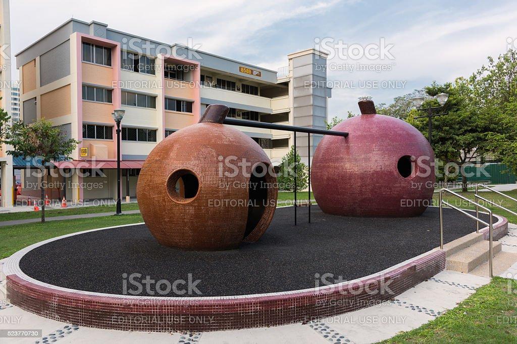 Mangosteen mosaic playground stock photo