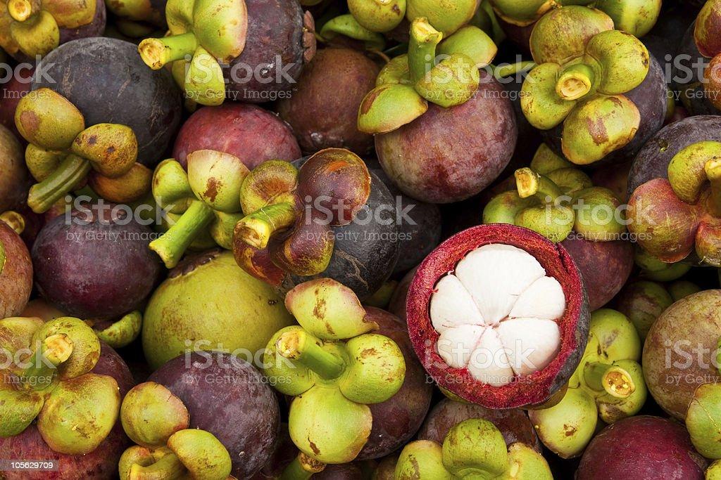 Mangosteen, tropical fruit stock photo