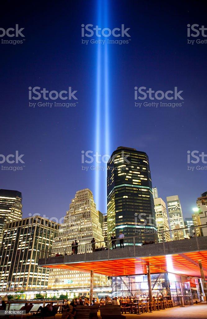 Manhattan 9-11th memorial lights stock photo