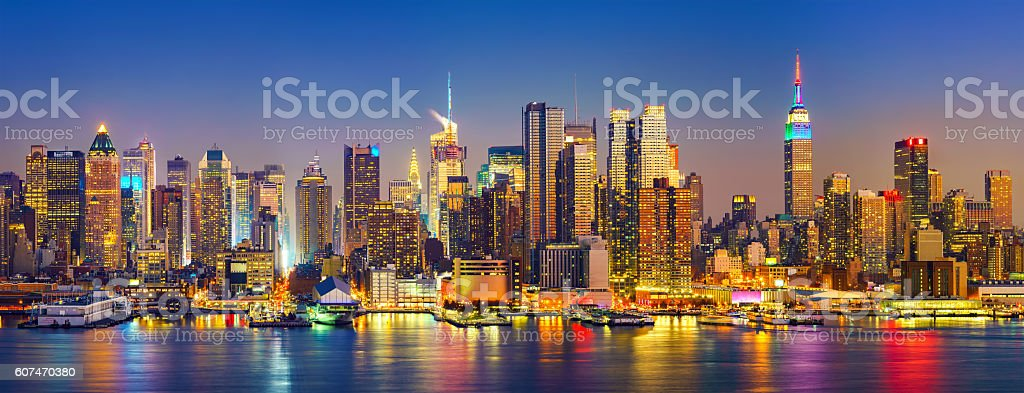 Manhattan after sunset stock photo