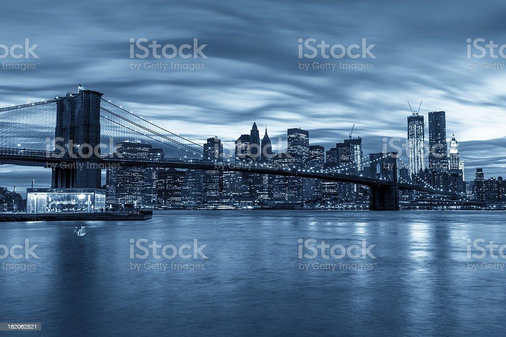 Manhattan and Brooklyn Bridge at night royalty-free stock photo