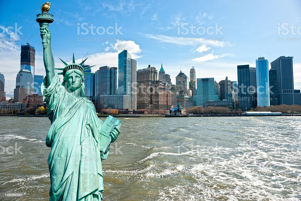 Manhattan and Dtatue of Liberty, , New York City. USA. royalty-free stock photo