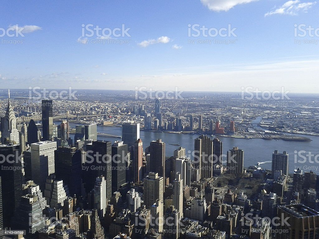 Manhattan and East River aerial stock photo