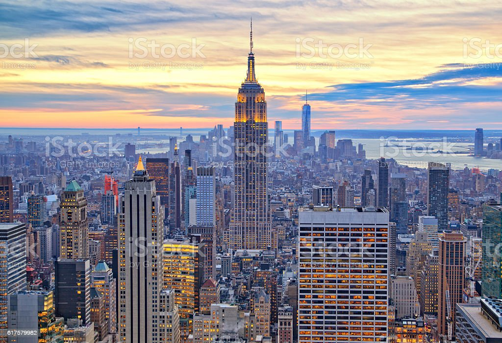 Manhattan and Empire State from above stock photo