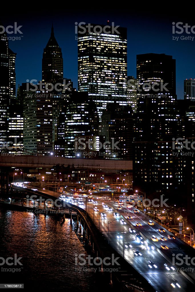 Manhattan and FDR  drive stock photo
