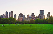 Manhattan and green lawn in Central Park West