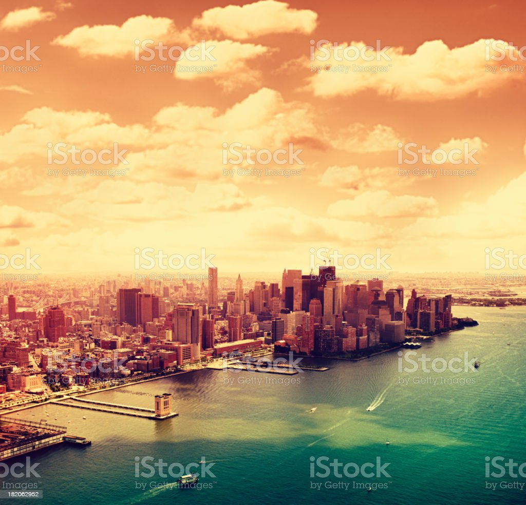 Manhattan and Ground zero aerial view from helicopter royalty-free stock photo