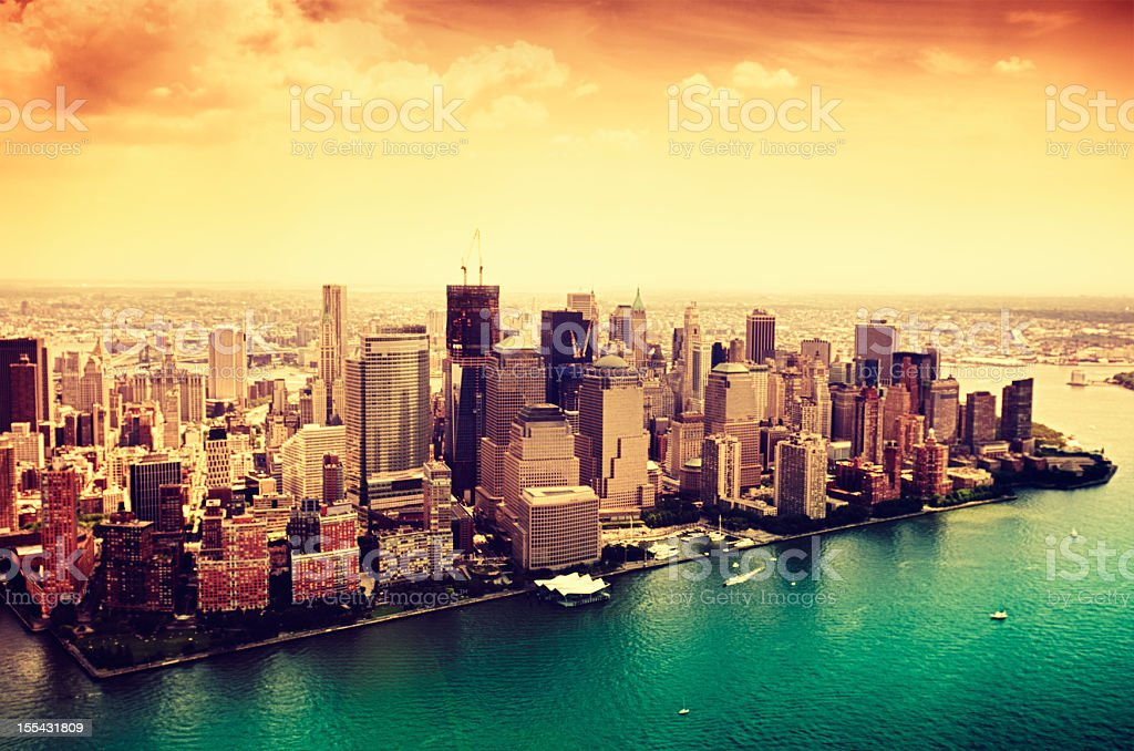 Manhattan and Ground zero from helicopter royalty-free stock photo