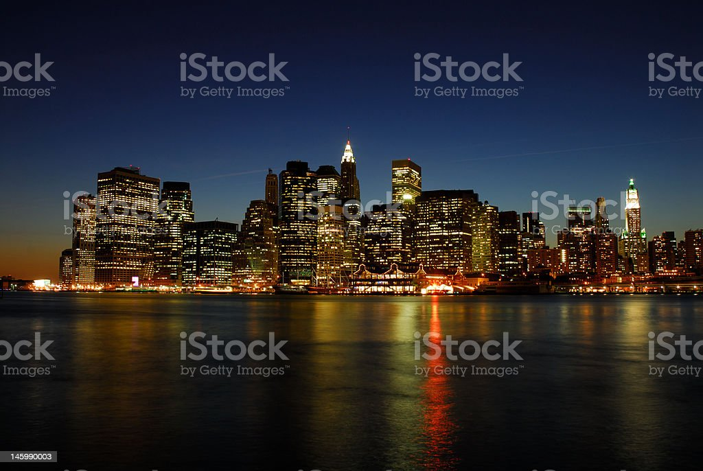Manhattan at night royalty-free stock photo
