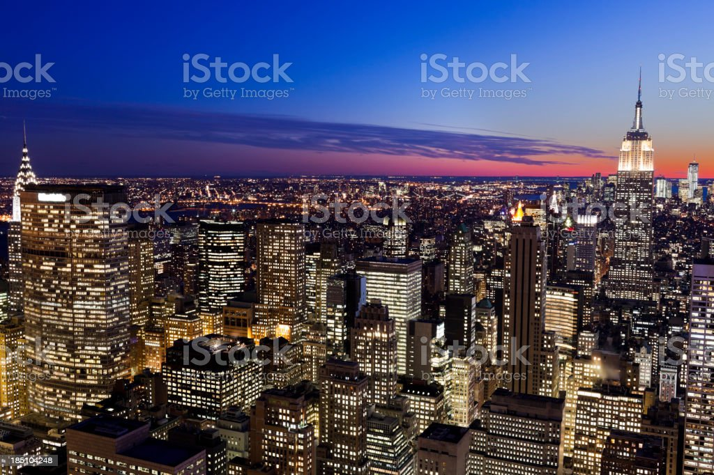 Manhattan at night royalty-free stock photo