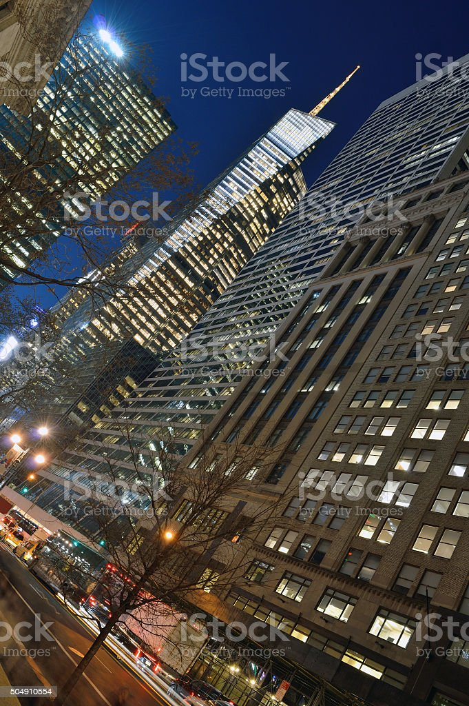 Manhattan at night. stock photo