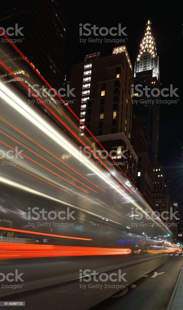 Manhattan at night. stock photo