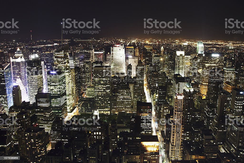 manhattan at night - view from rfc uptown royalty-free stock photo