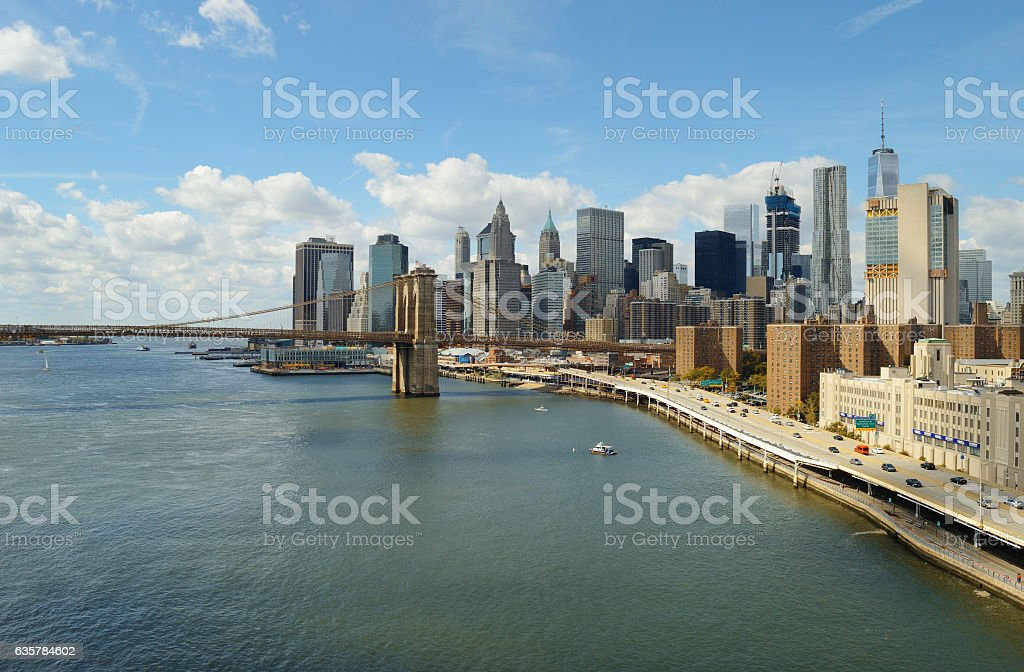 Manhattan at sunny day. stock photo