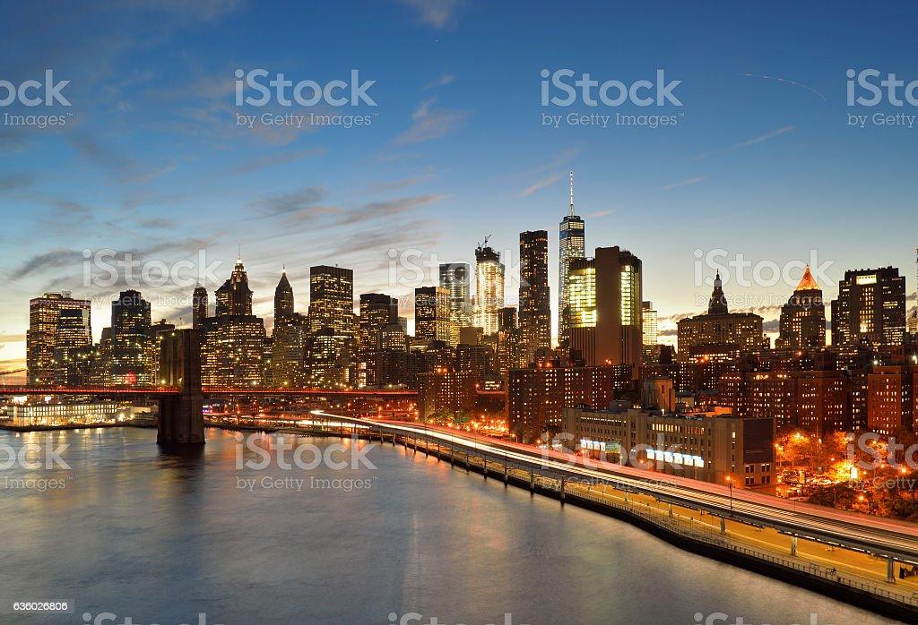 Manhattan at sunset. stock photo